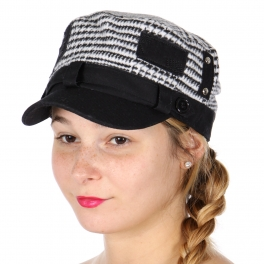 Wholesale W61D Wool blend houndstooth cadet hat
