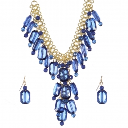 Wholesale Crystal bead drop necklace set NAVY1