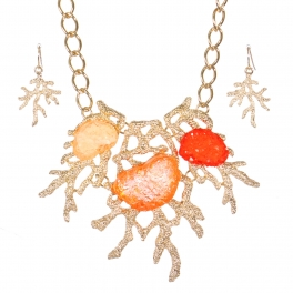 Wholesale coral reef pendant necklace set GPE