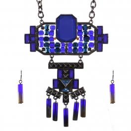 Wholesale Stone charm long necklace set HTBL