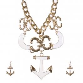 Wholesale Anchor pendant necklace set GWT