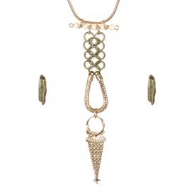 Wholesale Textured metal necklace set AGIV