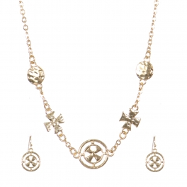 Wholesale Hammered cross long necklace set G