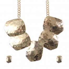 Wholesale Hammered metal necklace set G