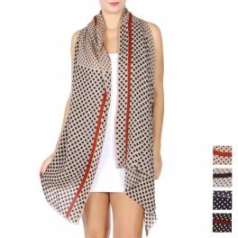 Wholesale D20E Wool blend polka dot scarf