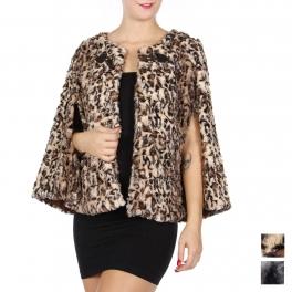 Wholesale O40B Faux fur cape with toggle