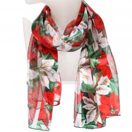 Wholesale WA00 Satin stripe scarf LARGE POINSETTIA