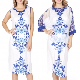 Wholesale T13B Chiffon top and dress set Blue