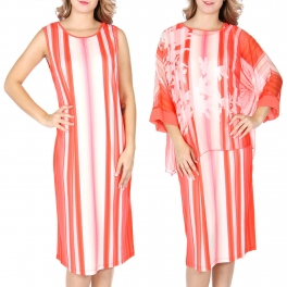 Wholesale T13B Chiffon top and dress set Coral