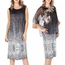Wholesale T13B Chiffon top and dress set Black