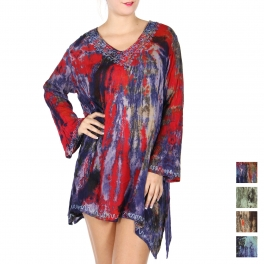 Wholesale R85D Asymmetric sequin embellished tunic