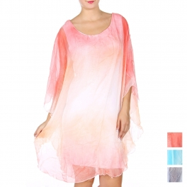 Wholesale Q20-1A Cotton blend ombre dress
