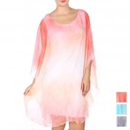 Wholesale Q20-1A Cotton blend ombre dress