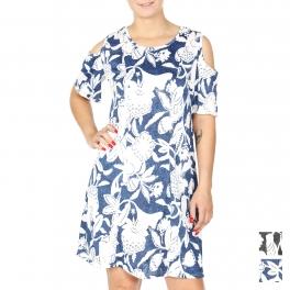 Wholesale K60B Cold shoulder damask print short dress PLUS SIZE BLUE
