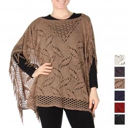 Wholesale U20SD Fringed open knit poncho