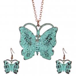 Wholesale WA00 Vintage butterfly necklace set OG