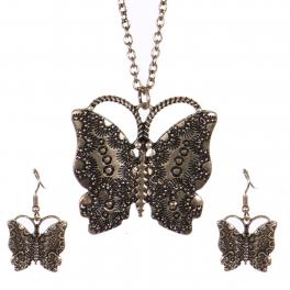Wholesale WA00 Vintage butterfly necklace set RGB