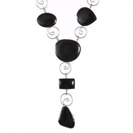 Wholesale M21E Handmade swirl necklace Black