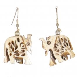 Wholesale M21E Handmade carved camel bone elephant earrings