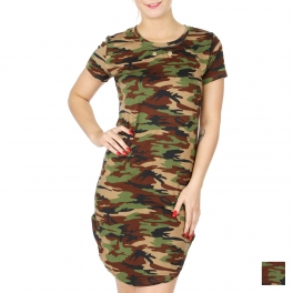 Wholesale A36C Camouflage short sleeve casual tunic top