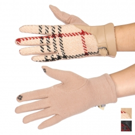 Wholesale Q58D Plaid faux leather cuff touch screen gloves
