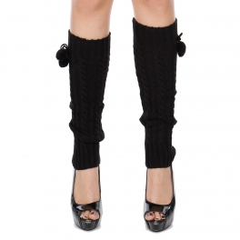 Wholesale O23C Cable knit pom leg warmer