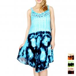 Wholesale J08D Multi pattern tie dye short dress Blue