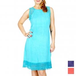 Wholesale K41C Lace insert crinkled sleeveless dress PLUS SIZE Turq