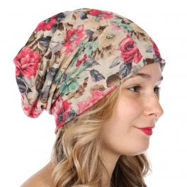 Wholesale P19C Lightweight floral beanie Pink