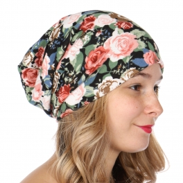 Wholesale O25A Lightweight floral beanie Blue