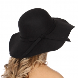 Wholesale V59C Floppy hat with bow Black