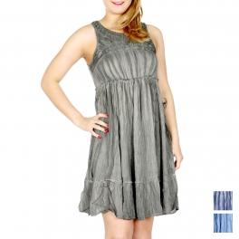 Wholesale H15D Acid wash crinkled sleeveless dress Olive