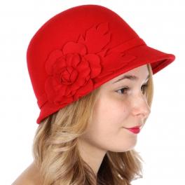 Wholesale W32 Wool rose flower cloche hat Black