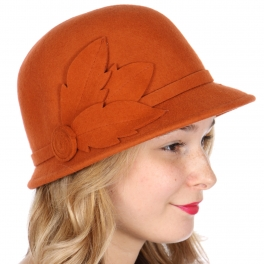 Wholesale W68 Wool felt swirl and leaf cloche hat Black
