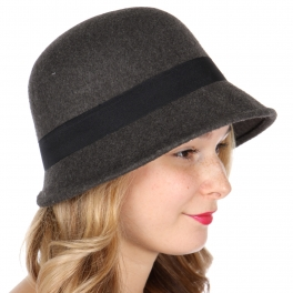 Wholesale W26 Solid bucket hat with ribbon Black