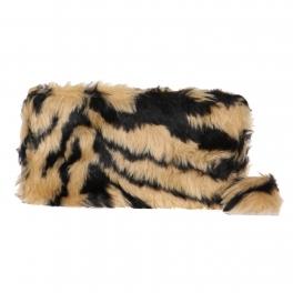 Wholesale Y22E Faux fur wallet Black/Camel