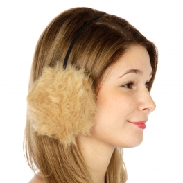 wholesale L22 Faux fur ball ear muffs 6 pairs Beige