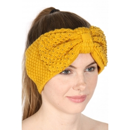 wholesale A08 clear stone big bow head band Mustard