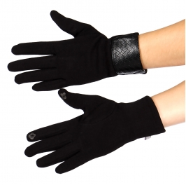 Wholesale N02C Faux leather cuff touch screen gloves BK