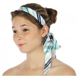 wholesale A21 Slim Tube Satin Sash Band Stripe Blue