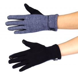 Wholesale T13A Double button cuff touch screen gloves BL