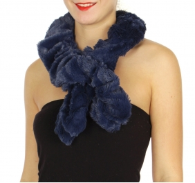 Wholesale U33B Plush frill short scarves assorted color Dozen