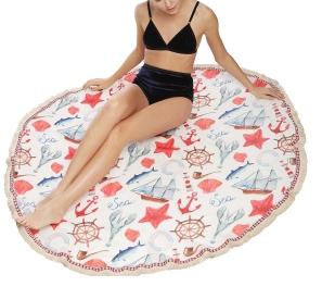 Wholesale I09B Ocean print round beach blanket & shawl w/ fringe