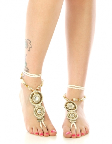 wholesale N46 Two medallion beaded anklet fashionunic