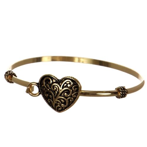 Wholesale WA00 Filigree heart pendant bangle Filigree pendant bangle bracelet - Heart AG