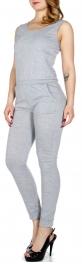 Wholesale Q13-1 Sleeveless simple jumpsuit w/ pockets Grey