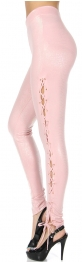 Wholesale O27A Lace-up metallic leggings Blush