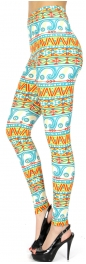 Wholesale R06B Tribal wave print softbrush leggings