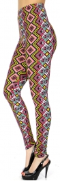 Wholesale Q121B Aztec diamonds print softbrush leggings