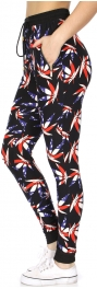 Wholesale B27A American marijuana print zipper pocket jogger